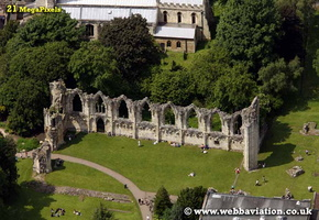 St Mary's Abbey York  Yorkshire England UK aerial photograph
