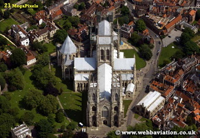 York Minster  York  Yorkshire England UK aerial photograph