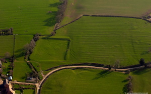 medieval fishpond at Maidwell Northamptonshire aerial photograph