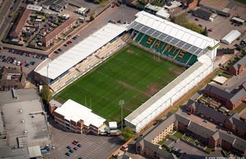 Franklin's Gardens rugby stadium in Northampton, England UK home of Northampton Saints.   aerial photograph