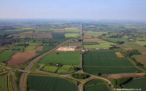 the Fosse Way with the site of the Roman Town of Margidvnvm in the foreground   from the air