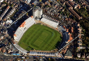Trent Bridge cricket ground   West Bridgford, Nottinghamshire, England, UK  home to Nottinghamshire County Cricket Club.  aerial photograph