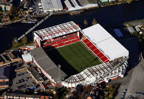 The City Ground football stadium  West Bridgford, Nottinghamshire, England,  UK  home to Nottingham Forest Football Club aerial photograph