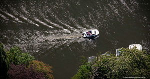boat on the Thames from the air