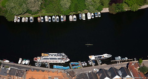 pleasure boats on the Thames  from the air