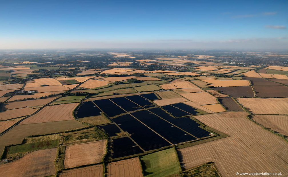 Landmead solar farm, in East Hanney Oxfordshire  aerial photograph