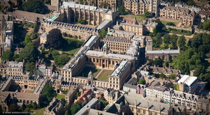 Queen's College, Oxford  England aerial photograph