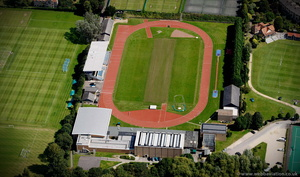 Roger Bannister running track from the air