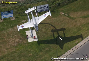 de Havallind Venom gate guardian at former RAF Grove airfield ( now Grove Technology Park )  Oxfordshire aerial photograph