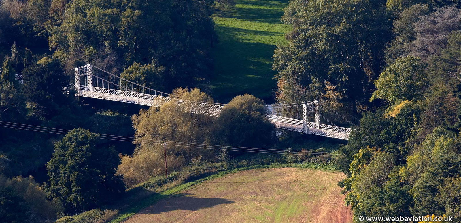 Apley suspension bridge from the air
