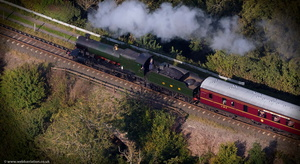 Great Western Railway (GWR) 2800 Class steam locomotive number 2857 belonging to the Severn Valley Railway from the air
