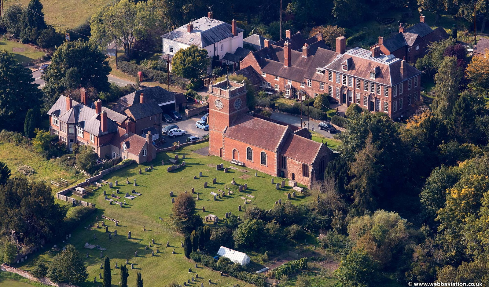 St Andrews Church Quatt Shropshire from the air