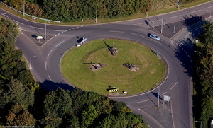 field guns on Garrison Roundabout  Telford  from the air