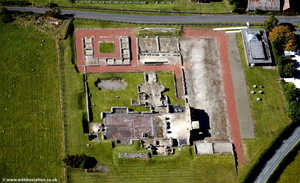 Wroxeter Roman City in Shropshire  England UK aerial photograph