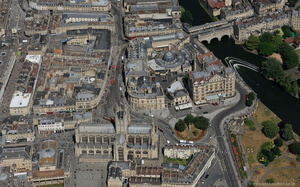 Bath city centre Somerset aerial photograph