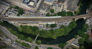 Bath Spa railway station aerial photograph