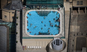 Thermae Bath Spa rooftop swimming pool in  Bath  aerial photograph