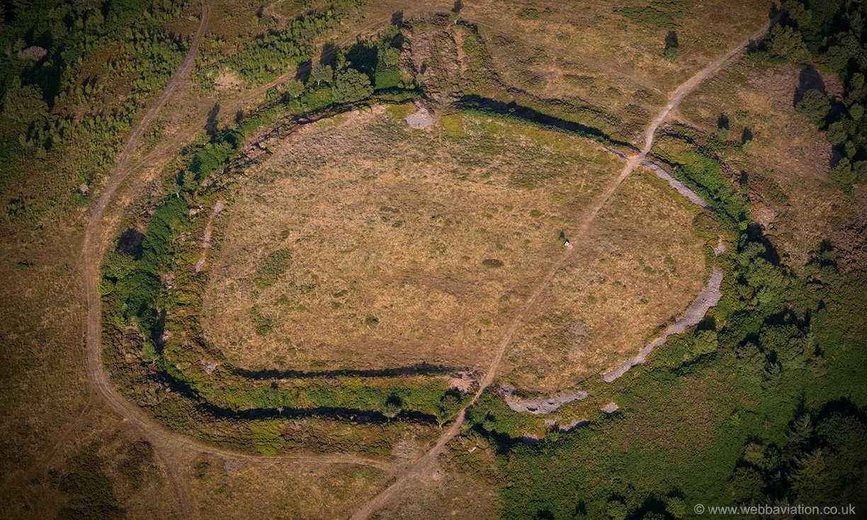 Bat's Castle Iron Age hill fort   , Gallox Hill Somerset  from the air