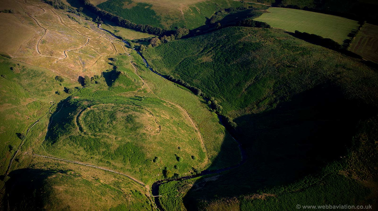 Cow Castle Iron Age hill fort Exmoor National Park aerial photograph
