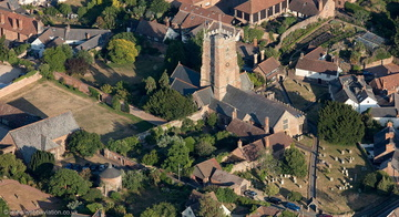 Dunster Church,  Dovecote  & Tithe Barn  from the air