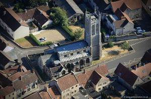 St Benedict's Church Glastonbury  from the air