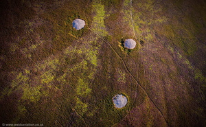 Round cairn cemetery on Dunkery Hill including Joaney How and Robin How Burial Cairns  aerial photograph