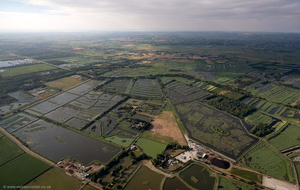 wetland landscape created by peat extraction at and around Walton Heath near Glastonbury  aerial photograph