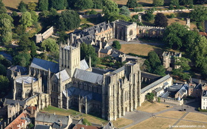 Wells Cathedral & Bishops' Palace from the air