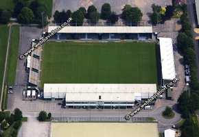 Huish Park  football stadium Yeovil, aerial photograph