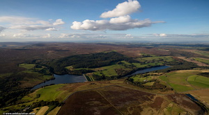 Dale Dike Reservoir and Strines Reservoir South Yorkshire from the air