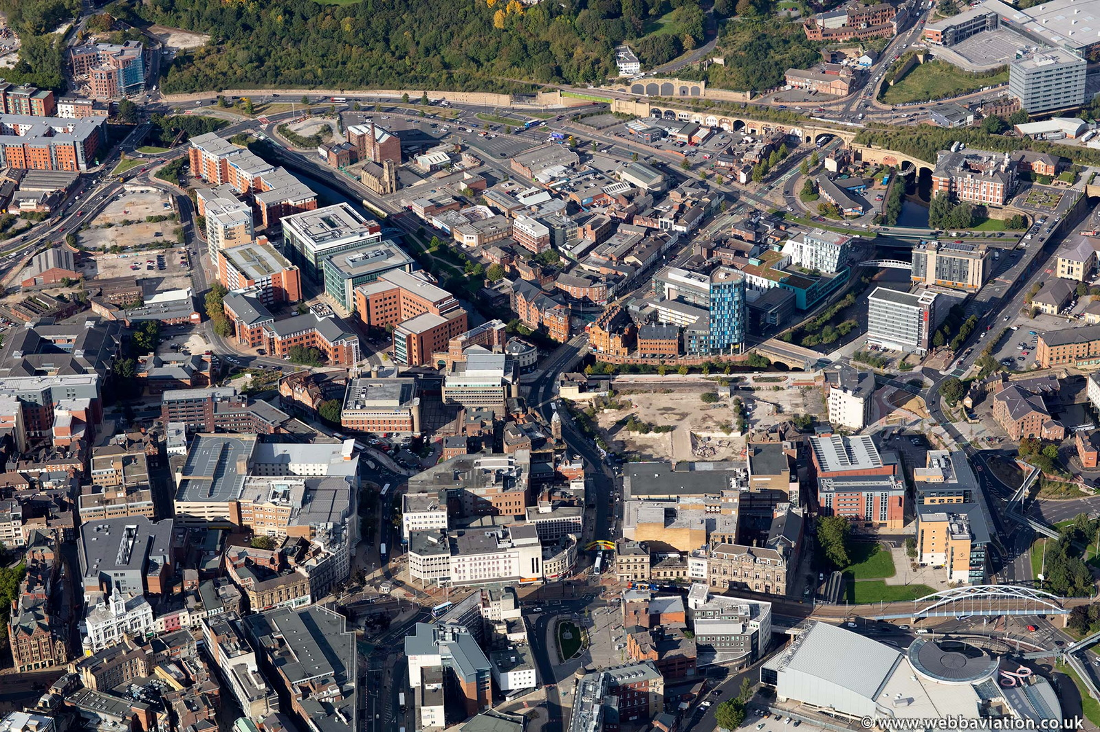 Haymarket   Sheffield city centre  S1 from the air