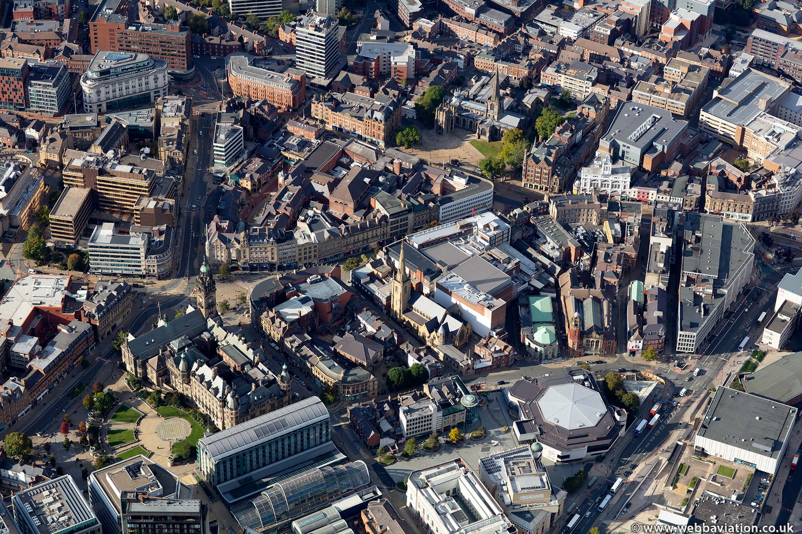 Norfolk Street Sheffield city centre from the air