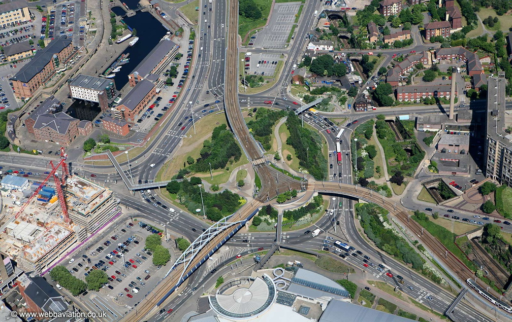 Park Square Roundabout  Sheffield from the air