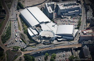 Ponds Forge International Sports Centre from the air