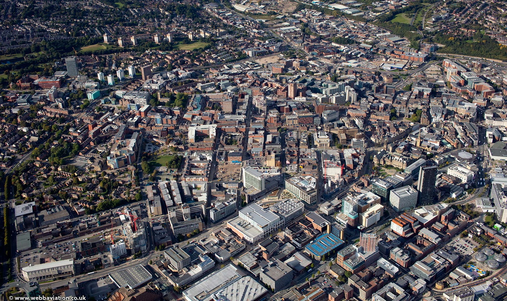 Sheffield city centre S1 from the air