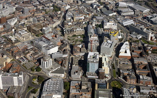 city centre Sheffield  from the air