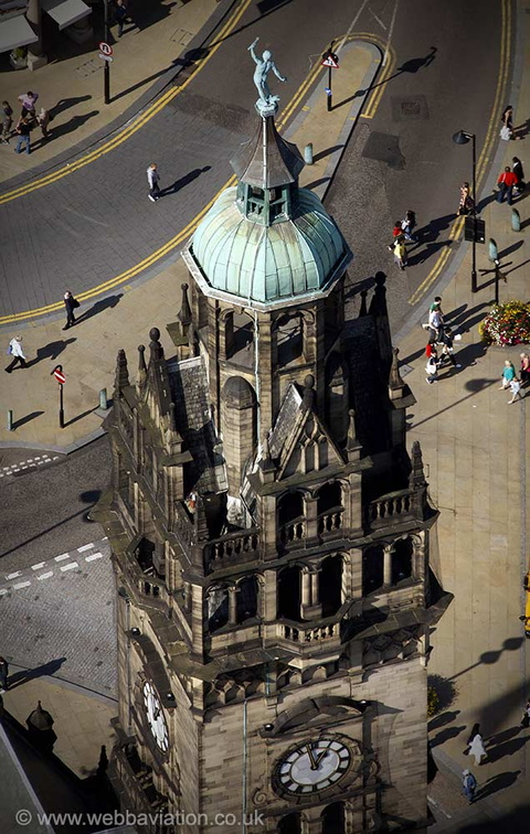 Statue of Vulcan on Sheffield Town Hall's clock  tower    from the air