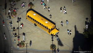 American School Bus in  Sheffield from the air