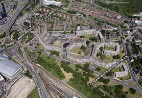 Parkhill flats  Sheffield Yorkshire  England UK aerial photograph