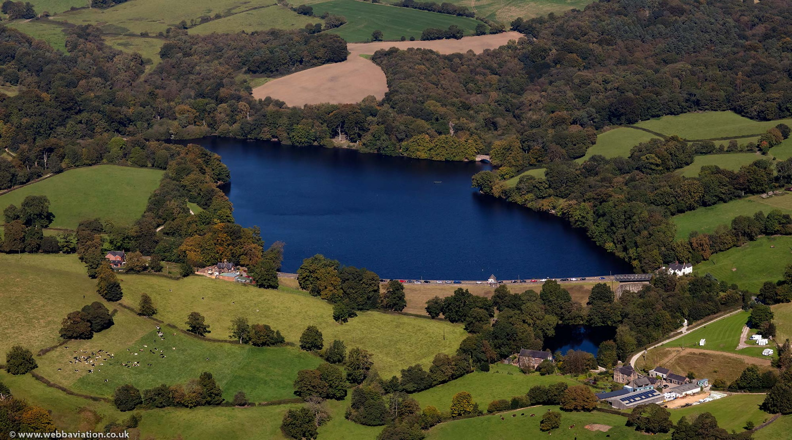 Knypersley Reservoir Staffordshire from the air