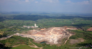 Caldon Low Quarry Staffordshire  from the air