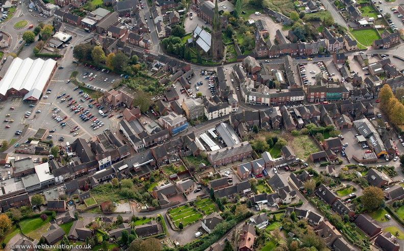 Cheadle  town centre  Staffordshire  from the air