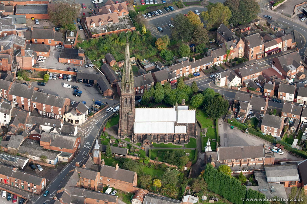 St Giles' Catholic Church, Cheadle  Staffordshire  from the air