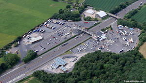 Keele Motorway Services on the M6 Motorway at Keele near Newcastle, Staffordshire UK aerial photograph
