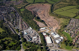 Knutton Quarry Newcastle-under-Lyme Staffordshire  from the air