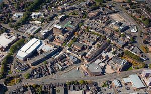 Newcastle-under-Lyme town centre Staffordshire  from the air