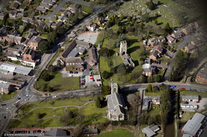 Old Church of St Augustine, , together with the new St Augustine's Church which replaced it Rugeley, Staffordshire from the air