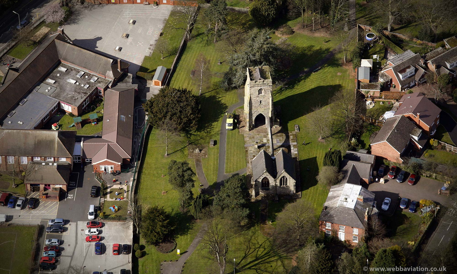 Old Church of St Augustine, Rugeley, Staffordshire from the air