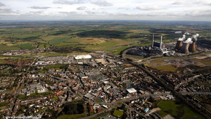 Rugeley & Rugeley Power Station from the air