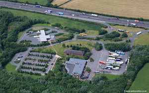 Stafford  Motorway Services on the M6 Motorway  south bound , Staffordshire UK  aerial photograph